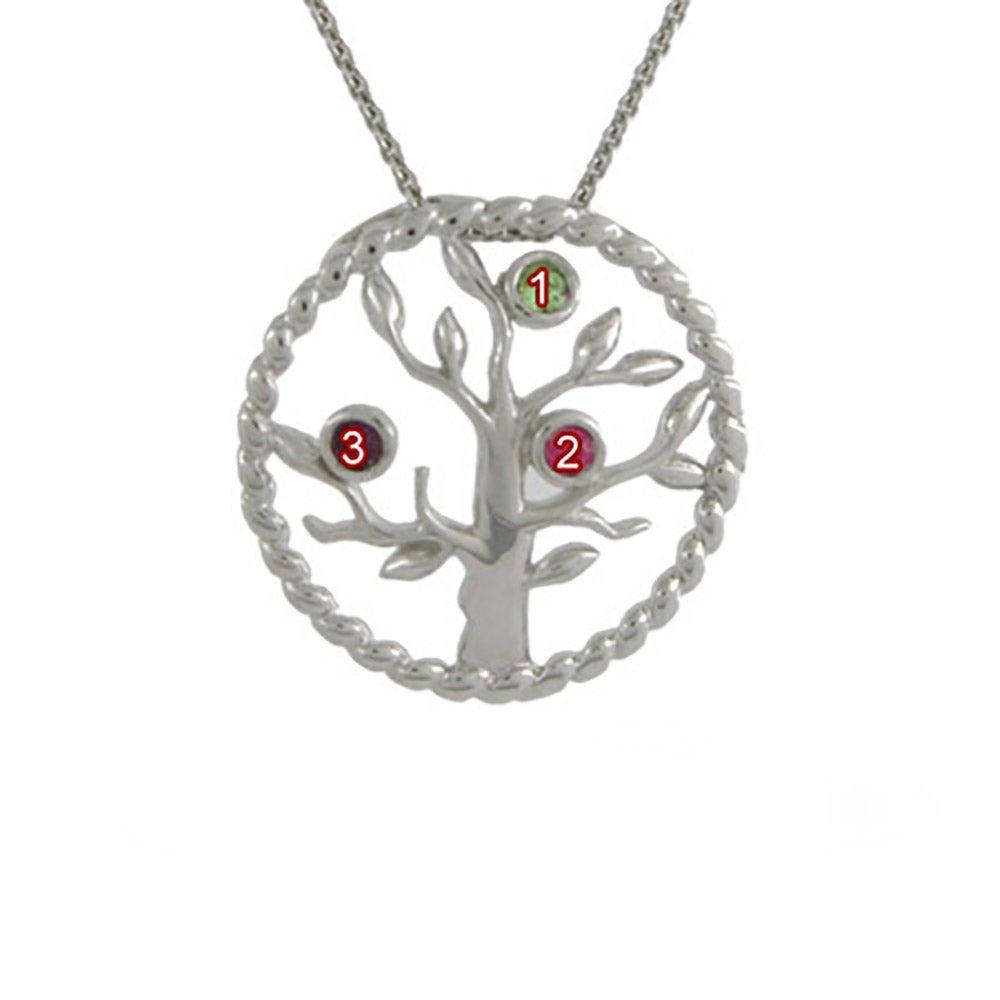 3 silver custom birthstone family tree pendant