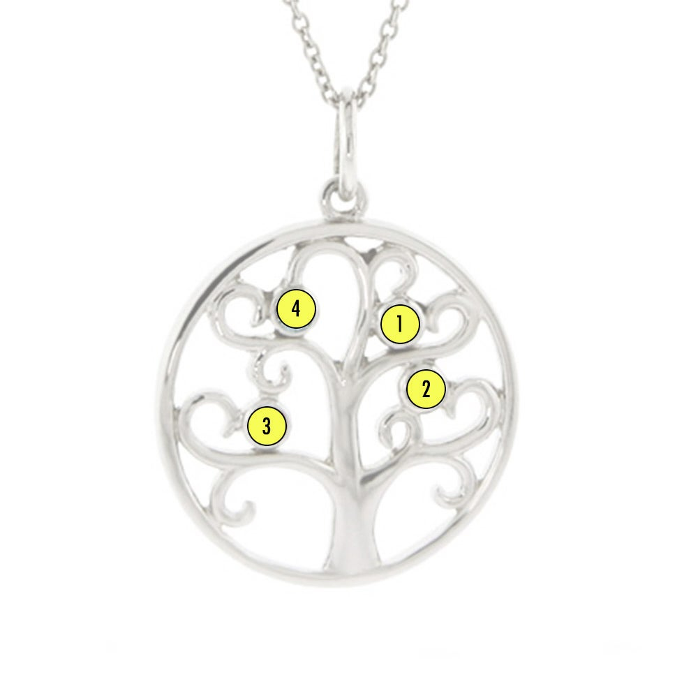 4 birthstone sparkling family tree pendant