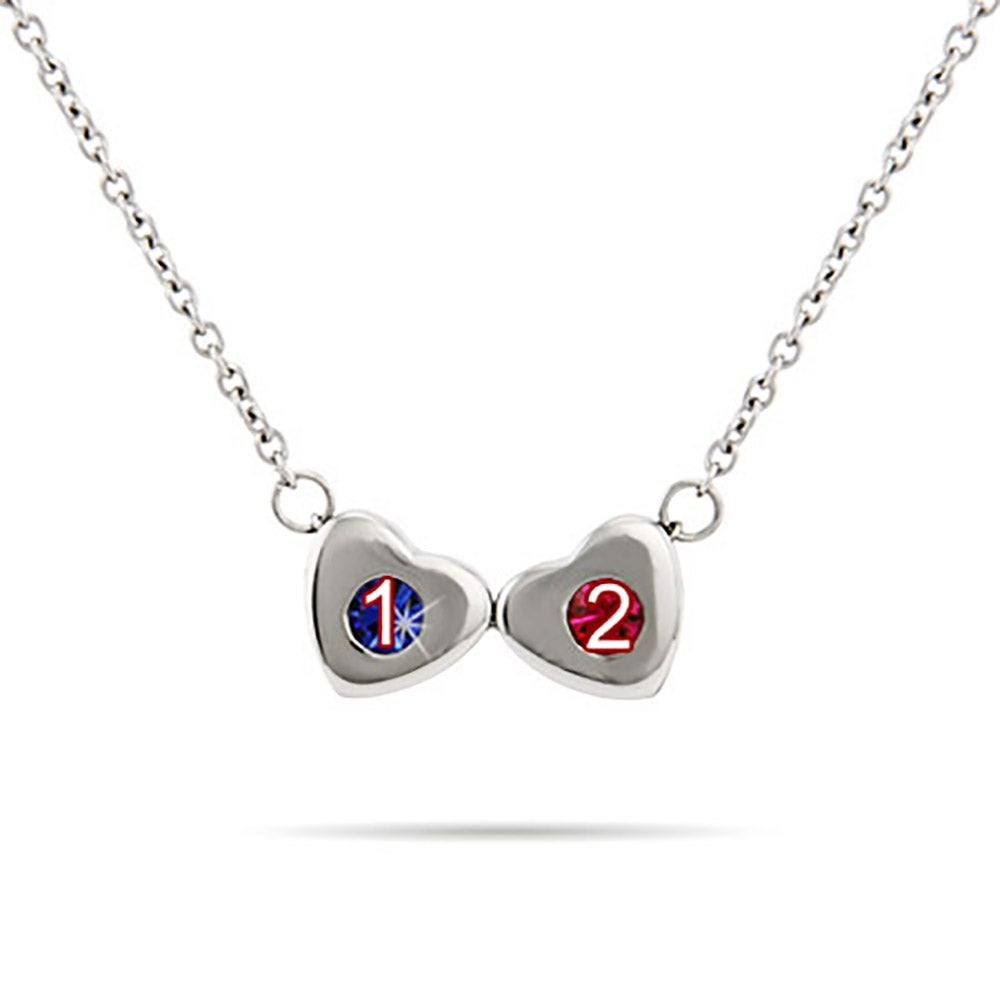 two birthstone family of hearts necklace