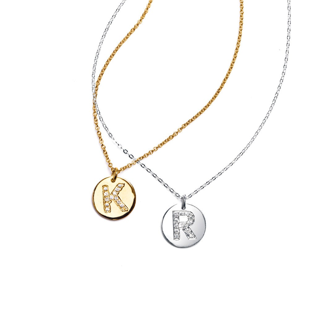 14k white gold initial disc necklace