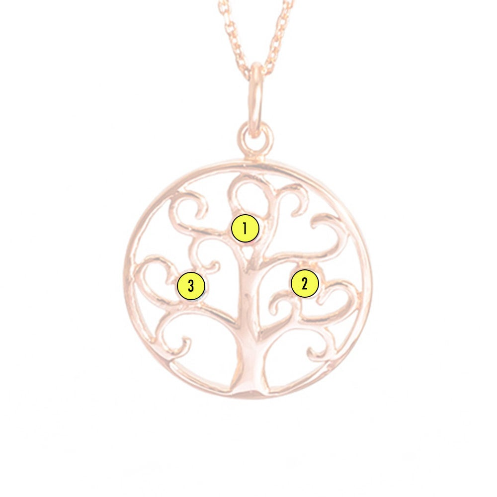 3 gold plated birthstone family tree pendant