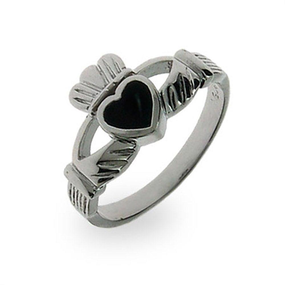 Sterling Silver Black Onyx Claddagh Ring
