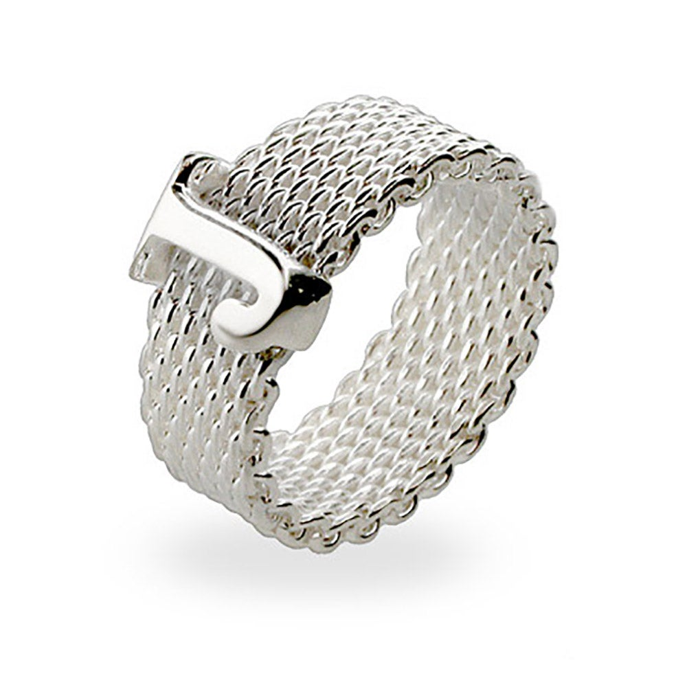 Designer Style Sterling Silver Mesh Initial Ring