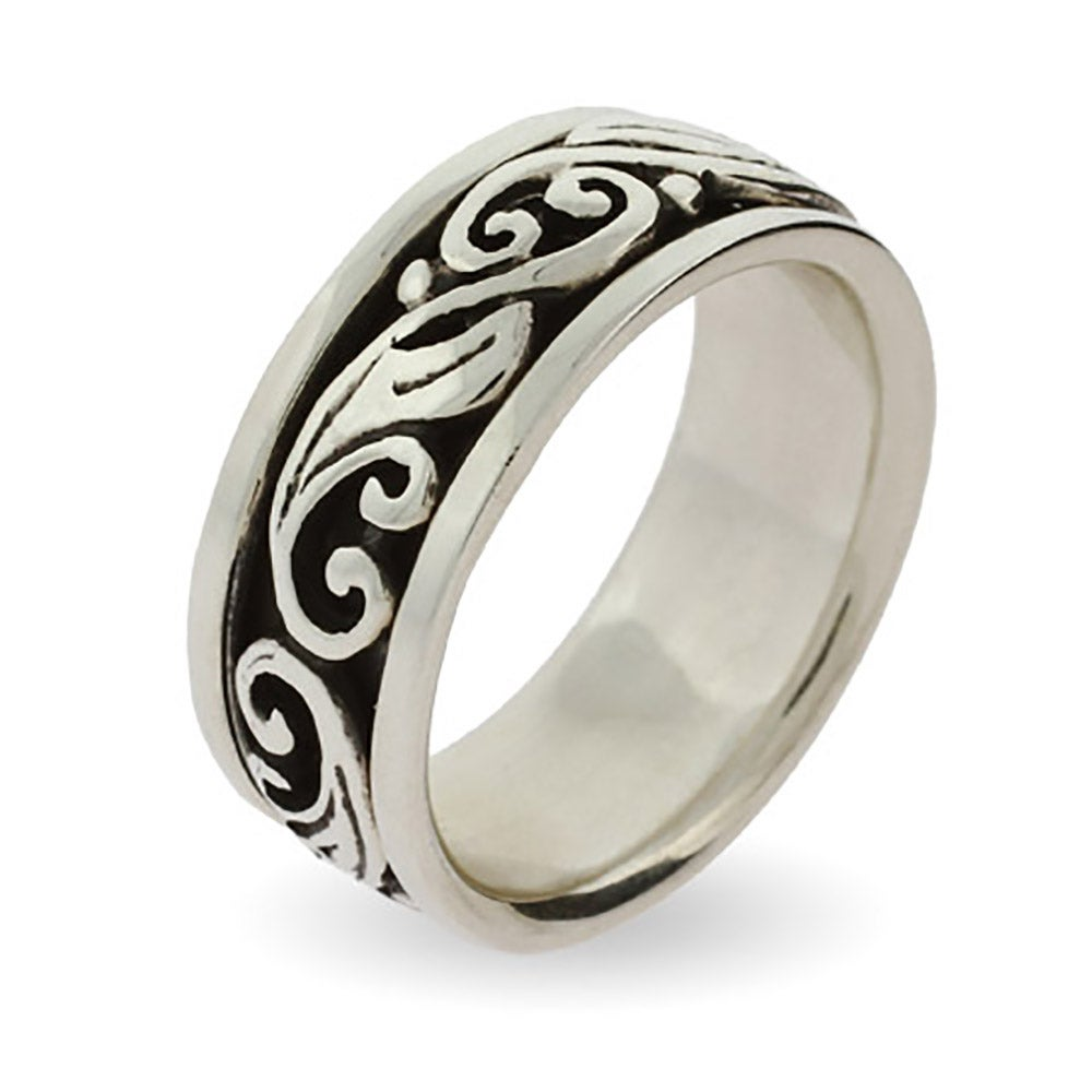 engravable silver scroll design spinner ring - Silver Wedding Ring