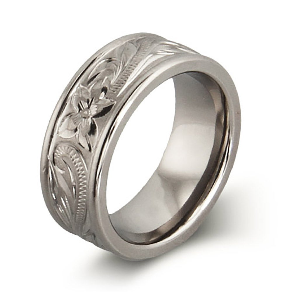 Handcrafted Heirloom Design Engraved Titanium Ring Eves Addiction