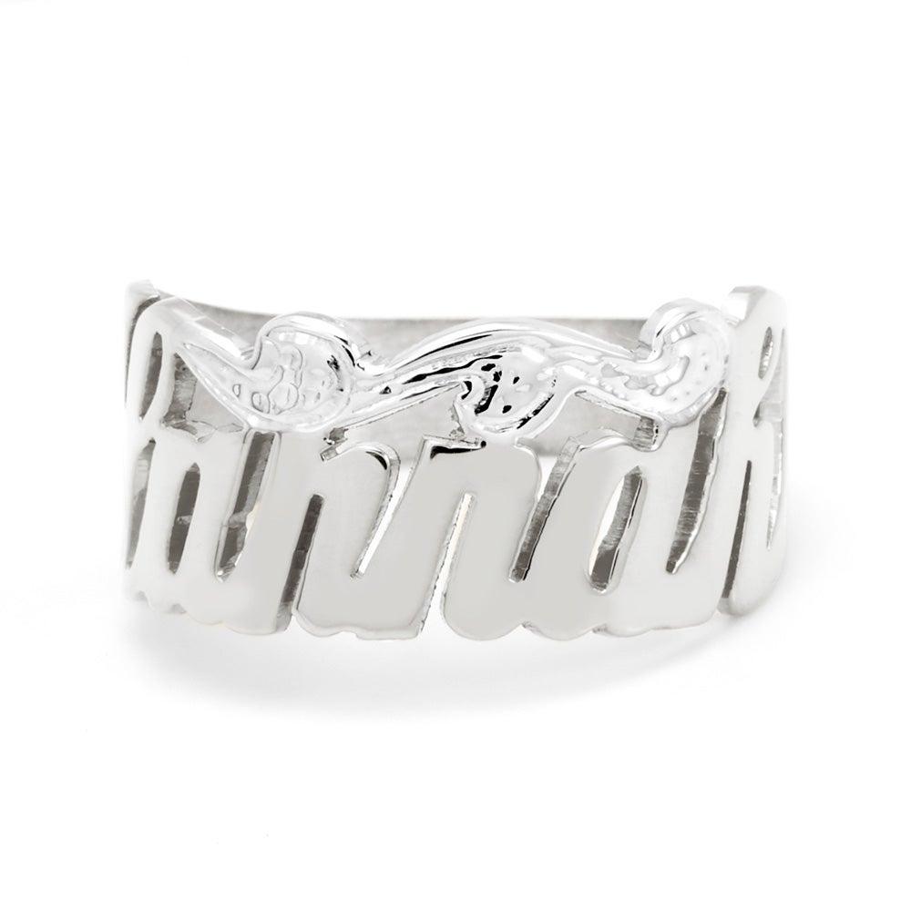 sterling silver custom script name ring s addiction 174
