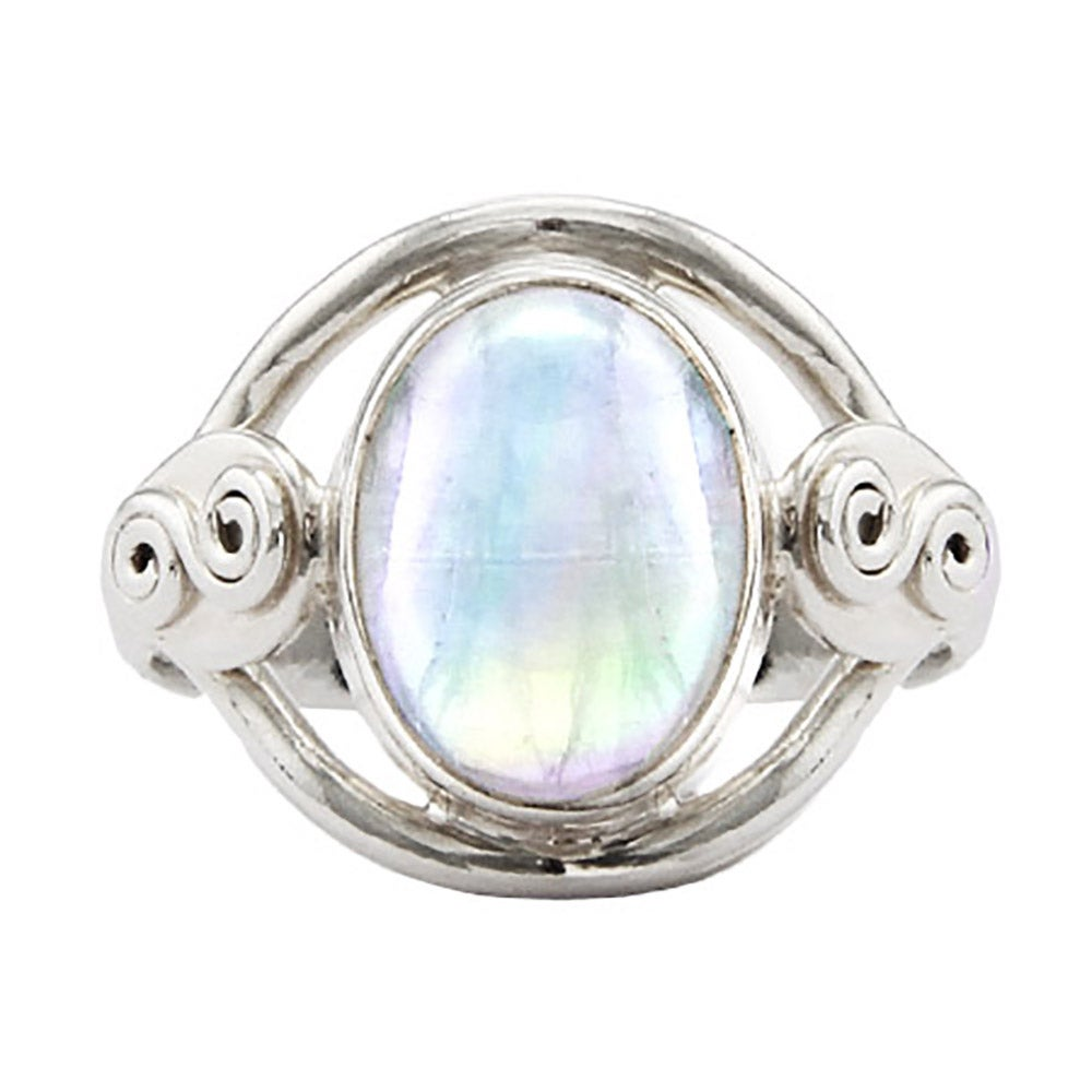 sterling silver oval rainbow moonstone ring s addiction 174