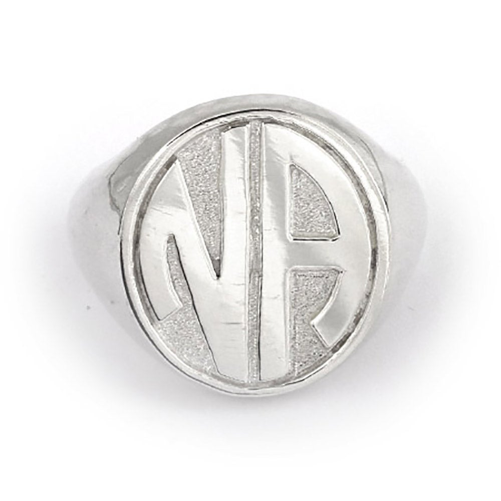 block two initial silver signet ring s addiction 174