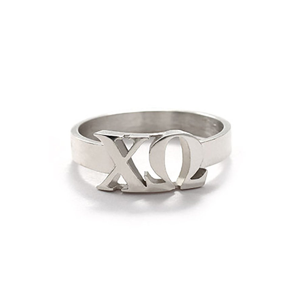 chi omega sterling silver letter ring eve39s addictionr With silver letter ring