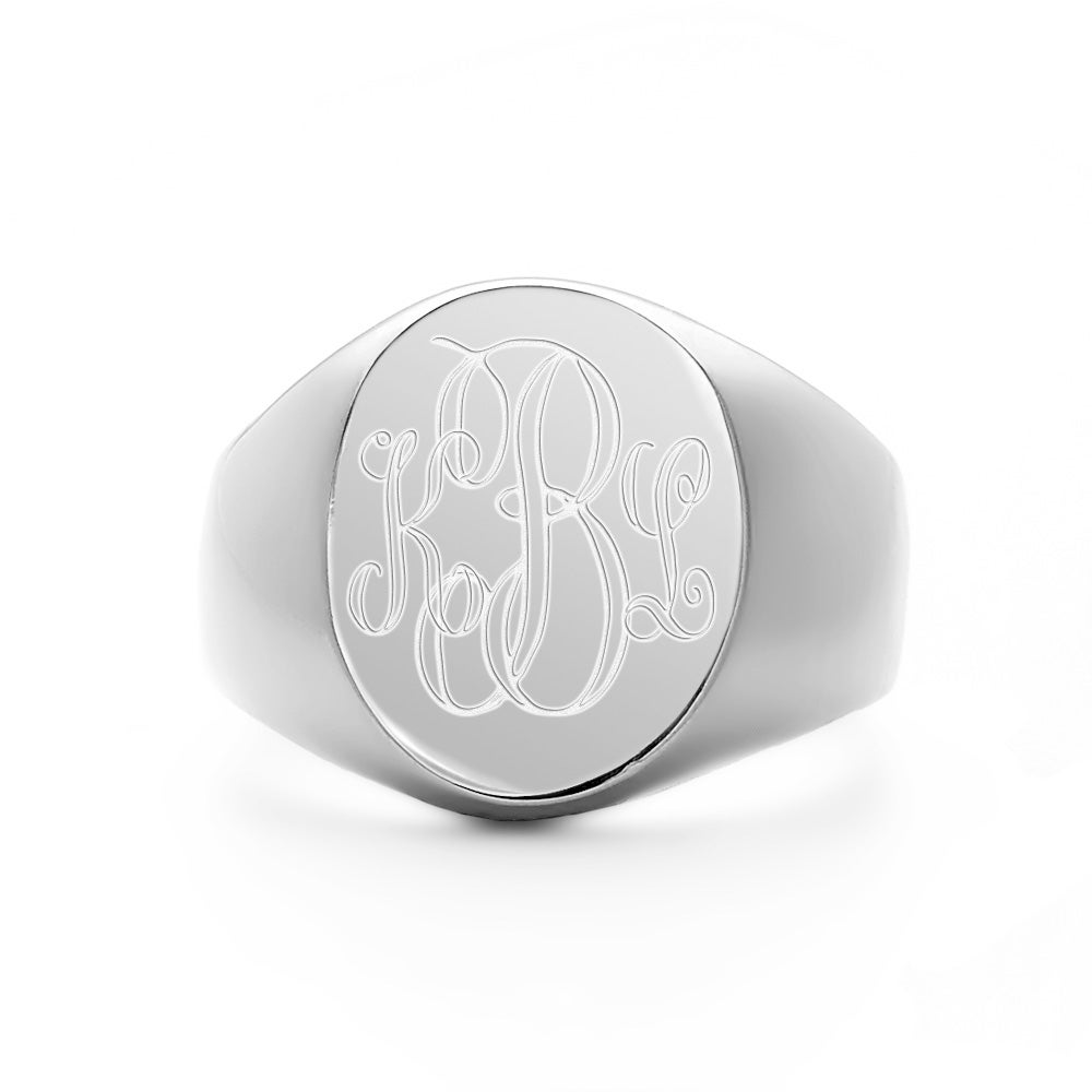 engravable oval silver signet ring s addiction 174
