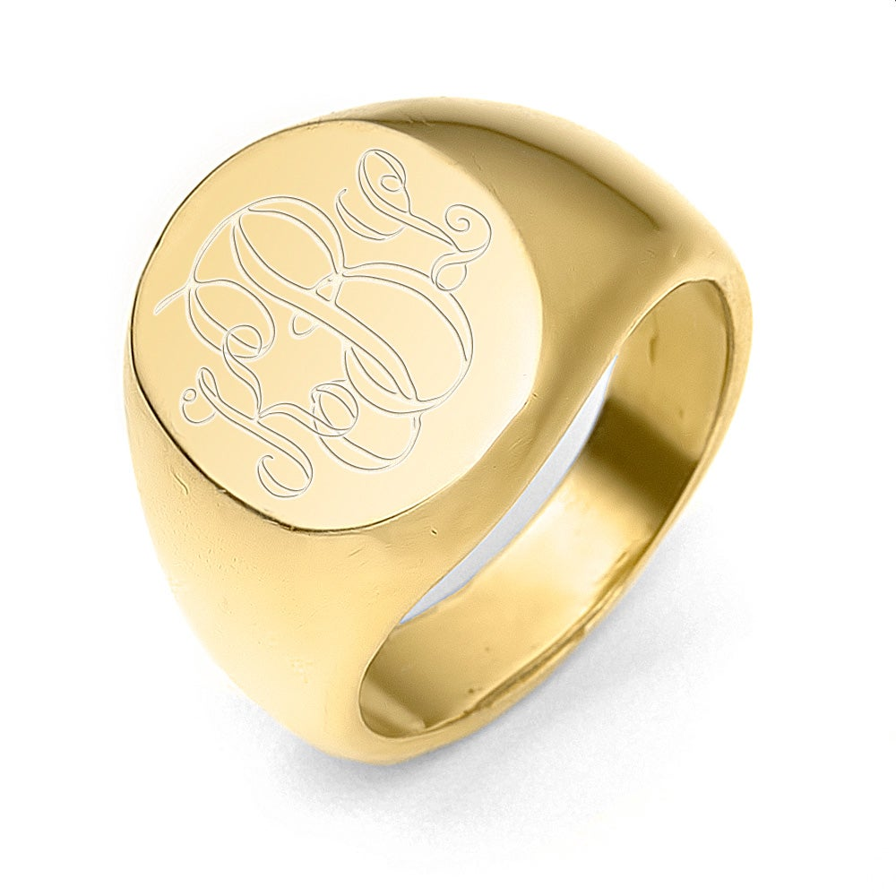 Gold engravable signet ring with description and history of signet rings