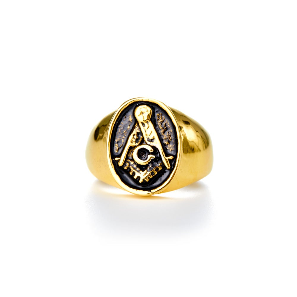 s gold plated masonic ring in stainless steel s