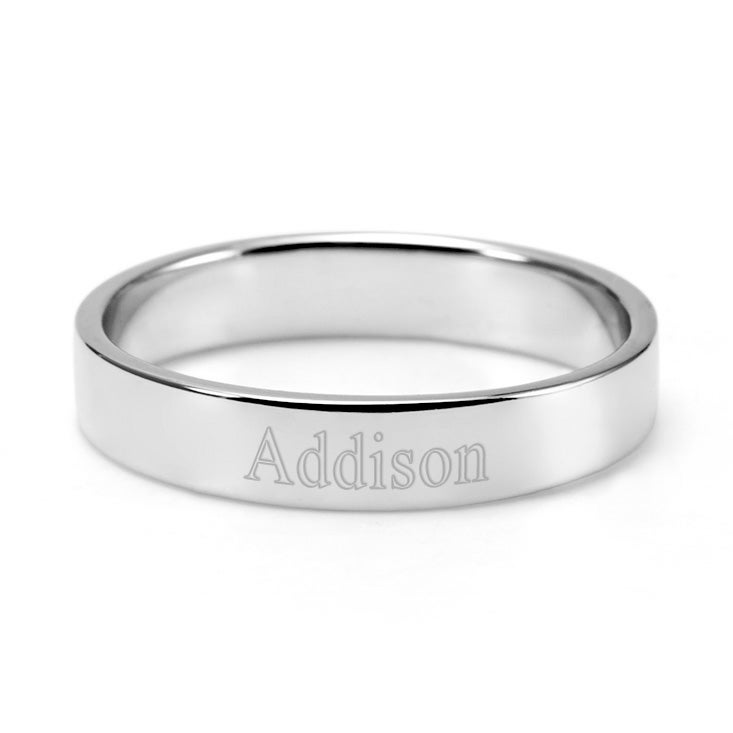 silver engravable stackable s ring