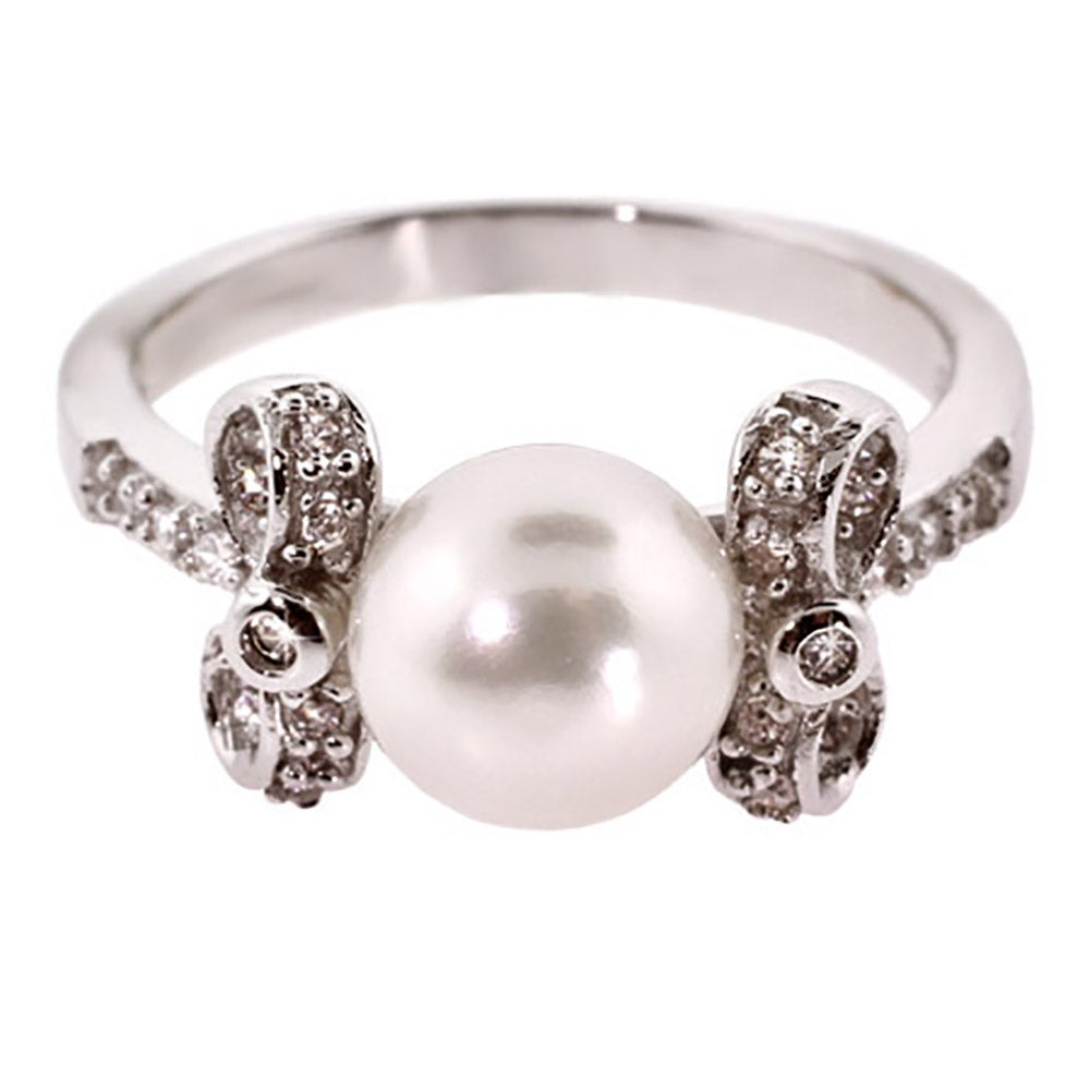 pretty pearl sterling silver ring with cz bows s