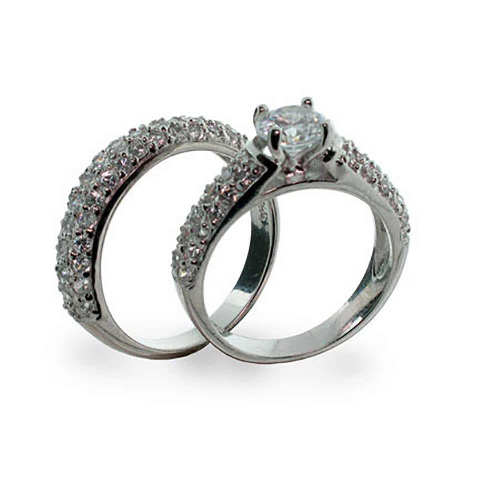 designer inspired pave diamond cz wedding ring set - Cz Wedding Rings