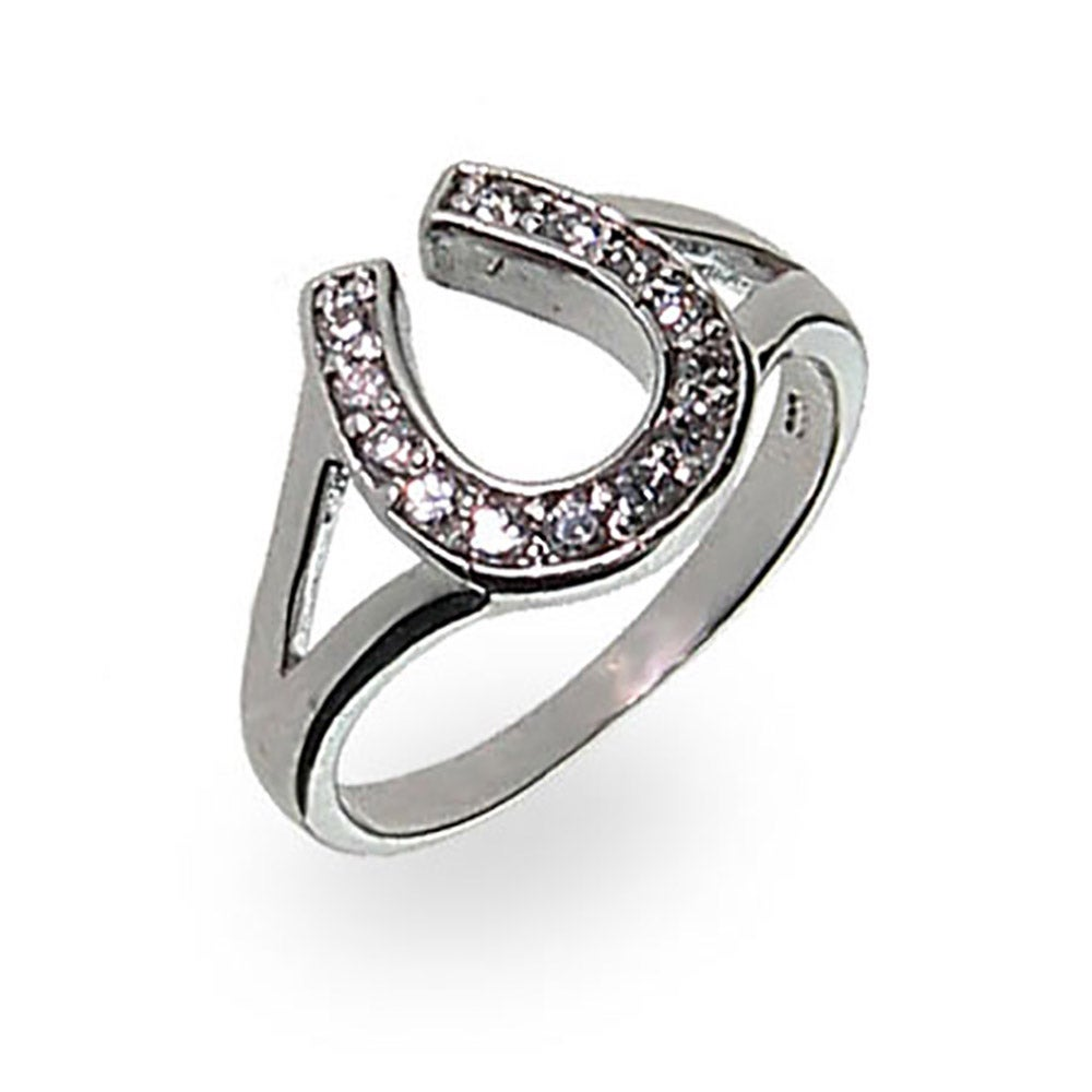 designer style sterling silver lucky horseshoe ring - Horseshoe Wedding Rings