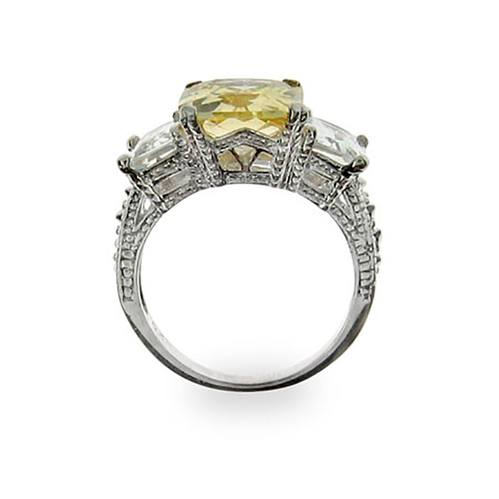 inspired canary cz three engagement ring