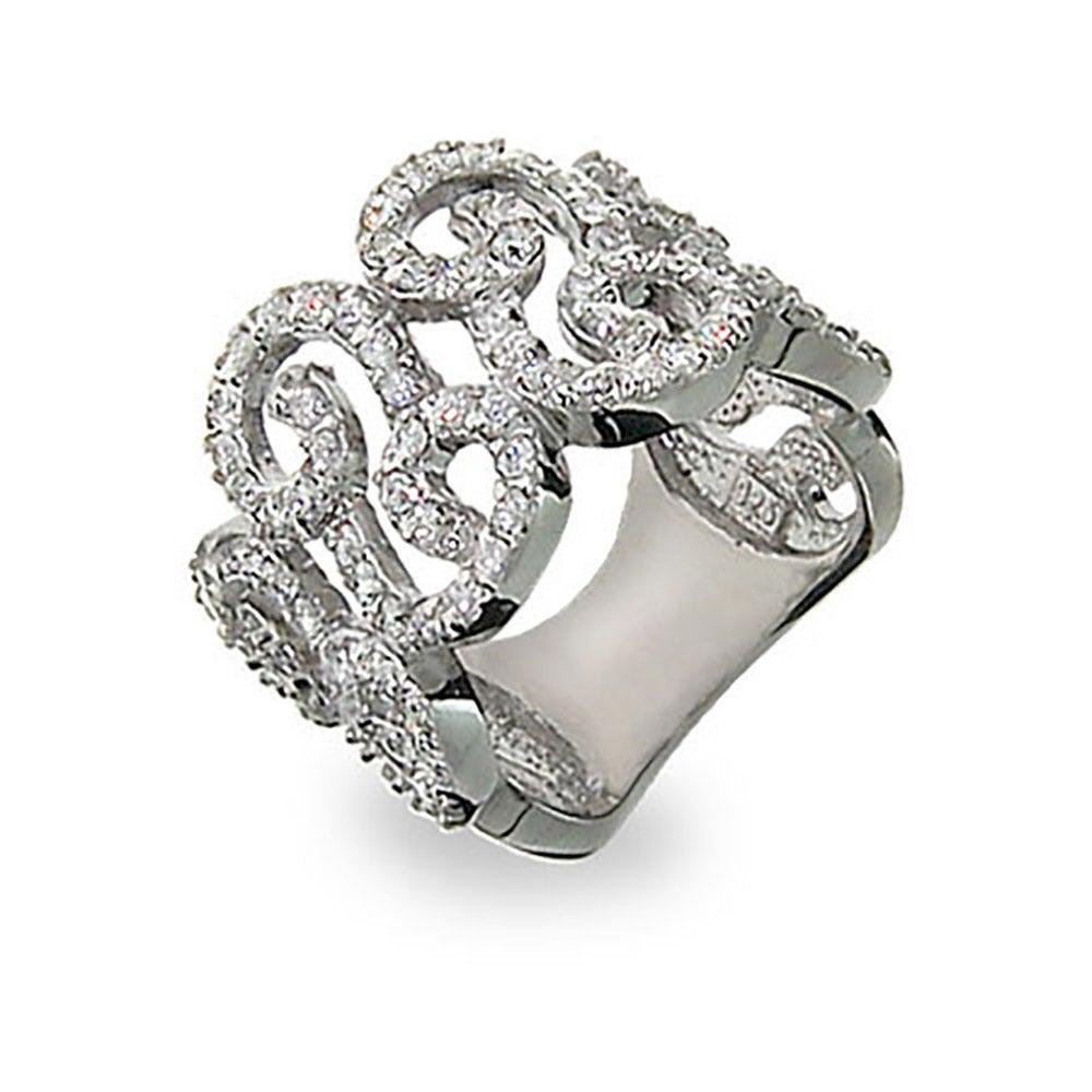 Elegant Sterling Silver Diamond Cz Scroll Right Hand Ring