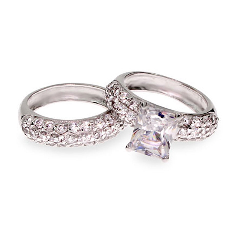 emerald cut cz sterling silver wedding ring set s