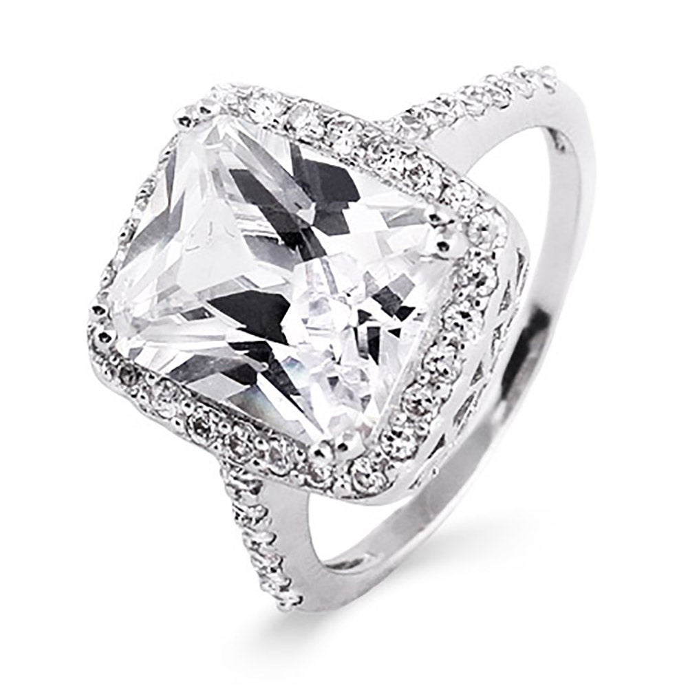 celebrity inspired diamond cubic zirconia sterling silver engagement ring - Cubic Zirconia Wedding Rings That Look Real