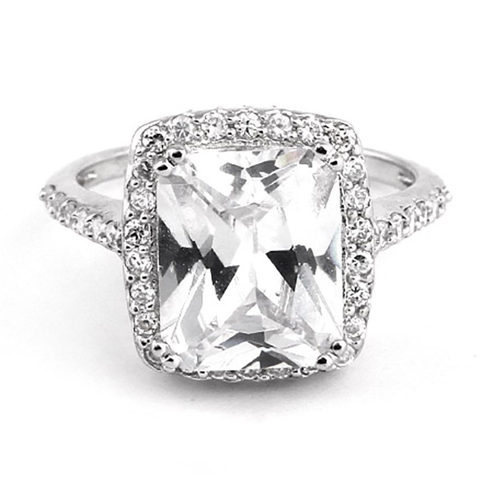 cubic zirconia | celebrity emerald cut engagement ring ...
