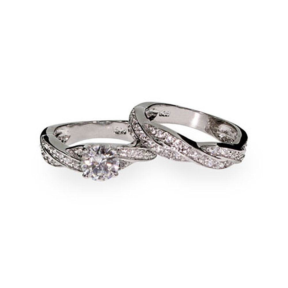sterling silver twisted cz wedding ring set s addiction 174