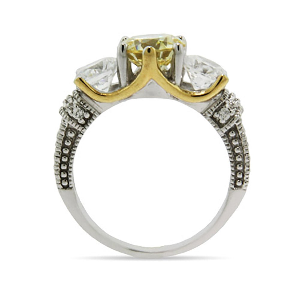 two tone canary and cz engagement ring s