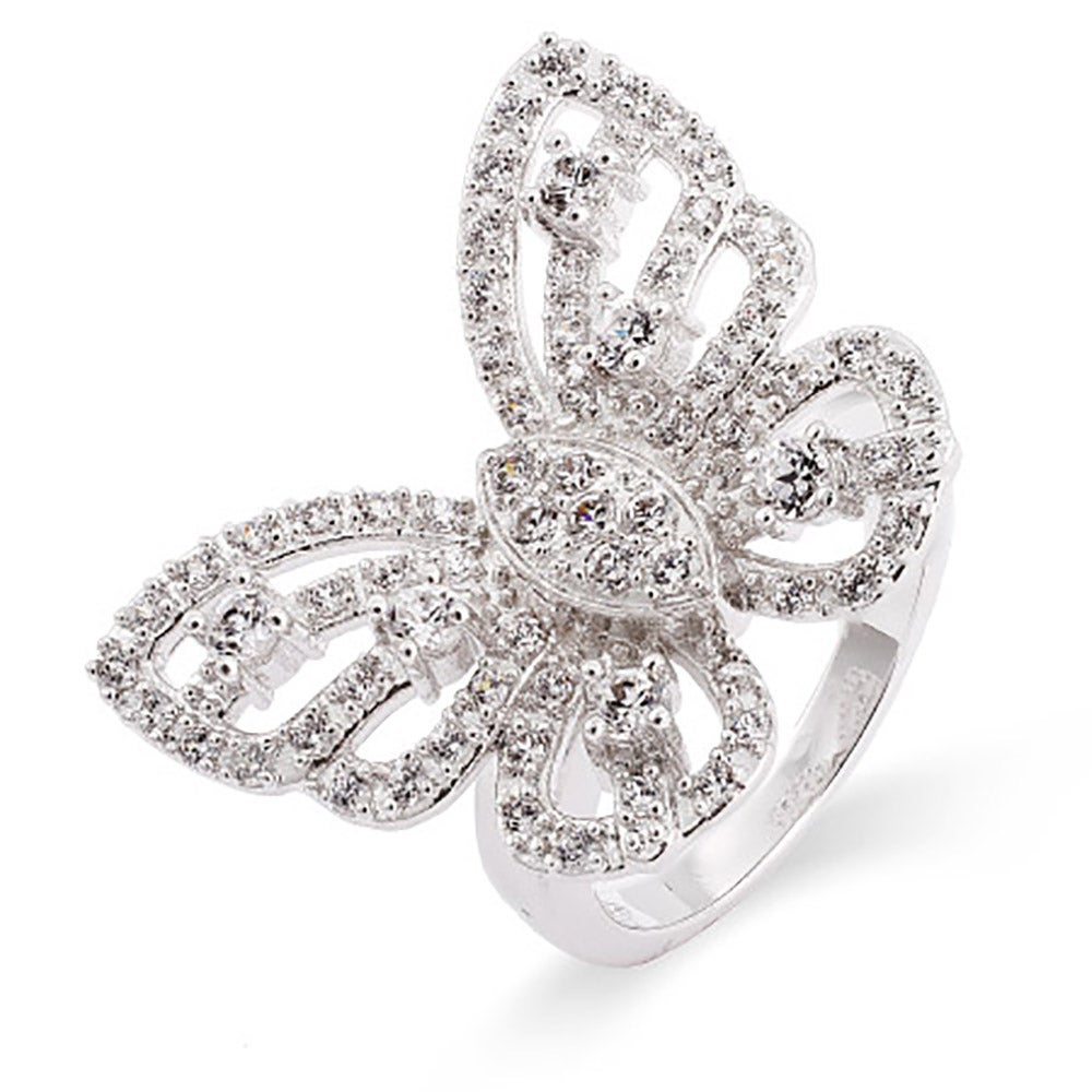 celebrity inspired cz butterfly ring - Fake Wedding Rings That Look Real