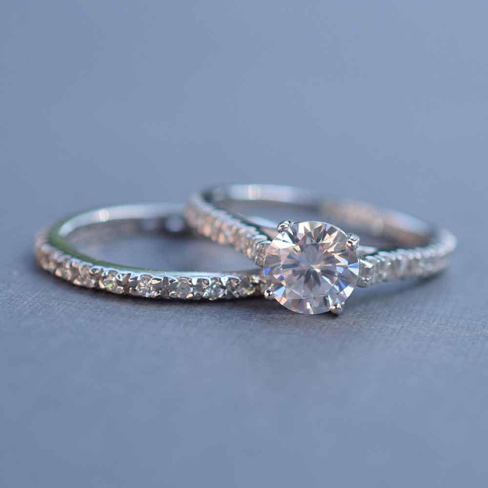 thin sterling silver wedding ring set
