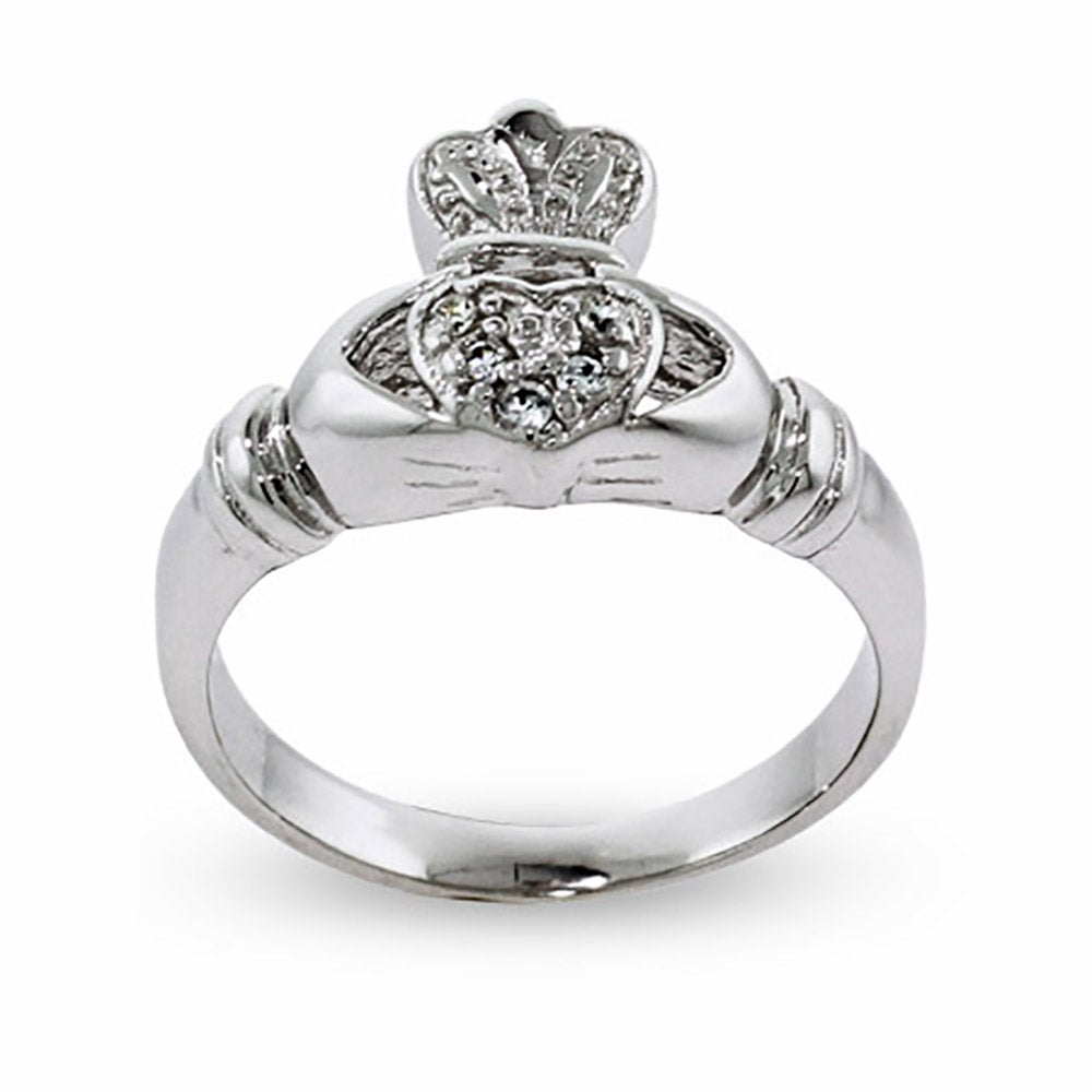 cubic zirconia sterling silver irish claddagh ring eve 39 s. Black Bedroom Furniture Sets. Home Design Ideas