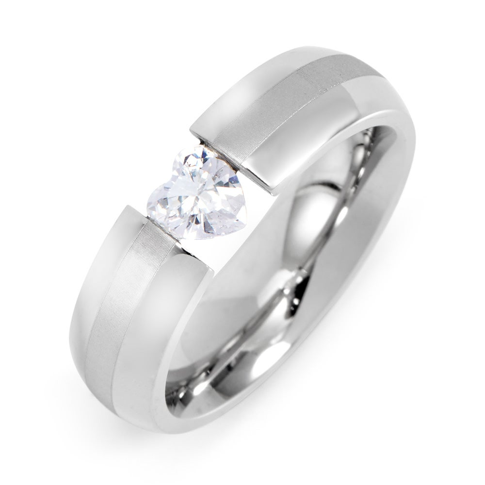 cz heart stainless steel ring | eve's addiction®