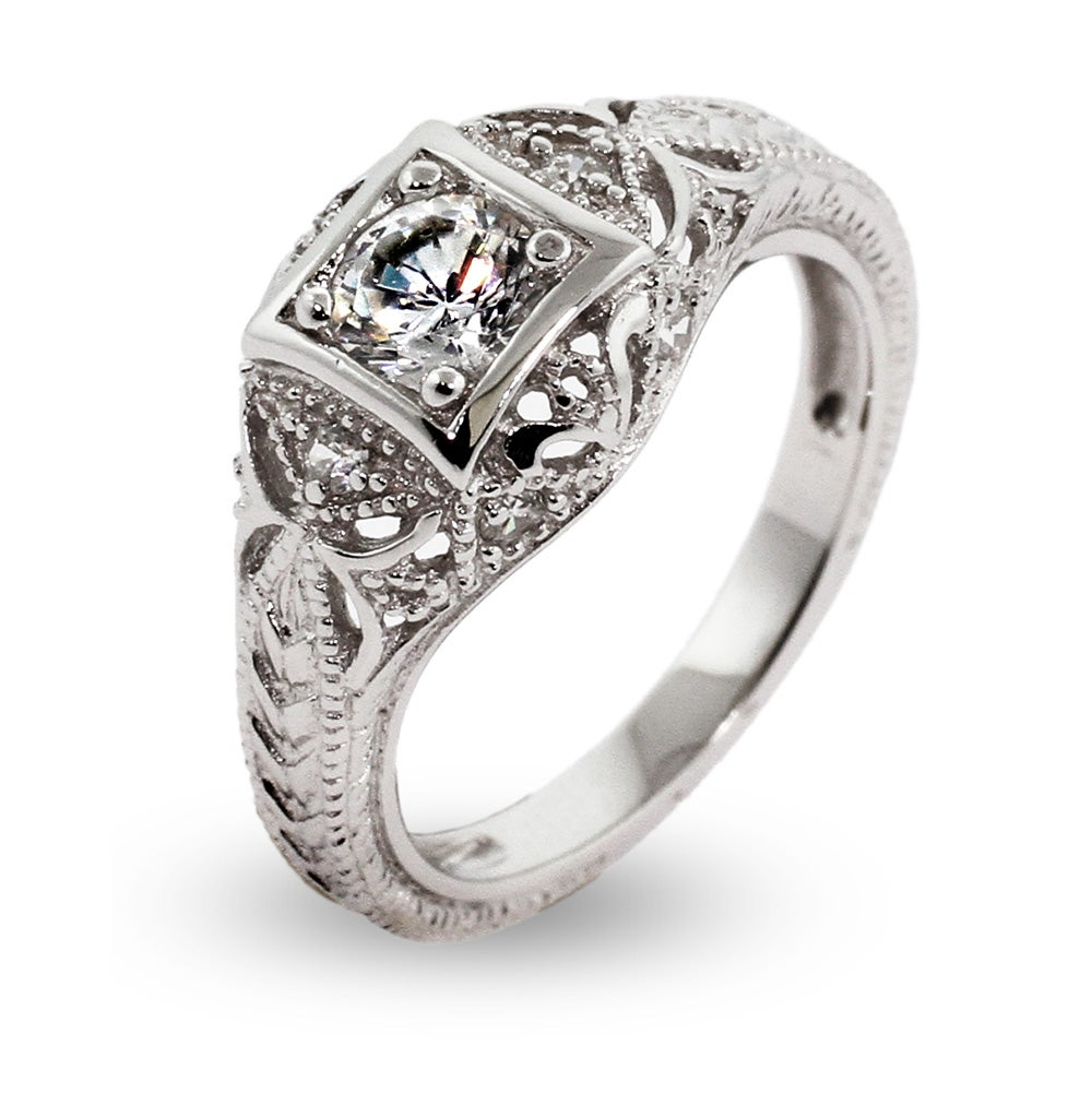 vintage deco style sterling silver cz engagement ring - Fake Wedding Rings That Look Real