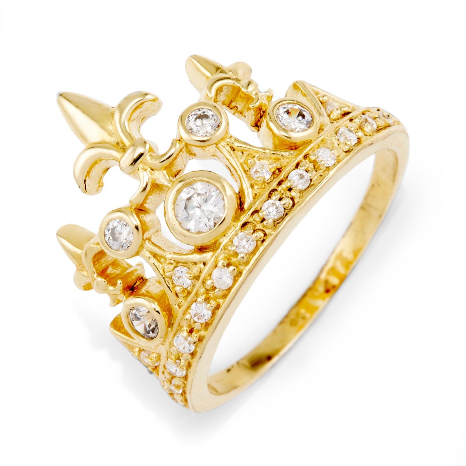 plated cz fleur de lis crown ring | eve's addiction®