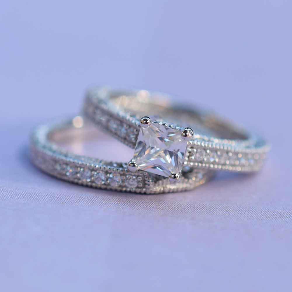 vintage style princess cut engagement ring set s