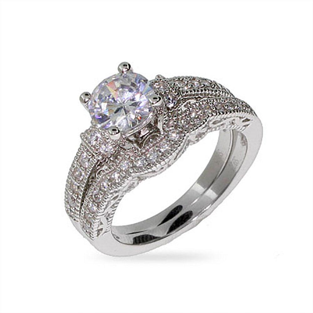 victorian style silver round cut cz wedding ring set - Cz Wedding Ring Sets