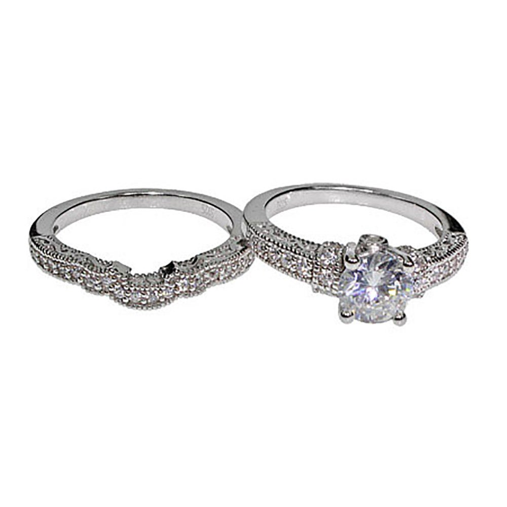 Victorian Style CZ Wedding Ring Set Eves Addiction