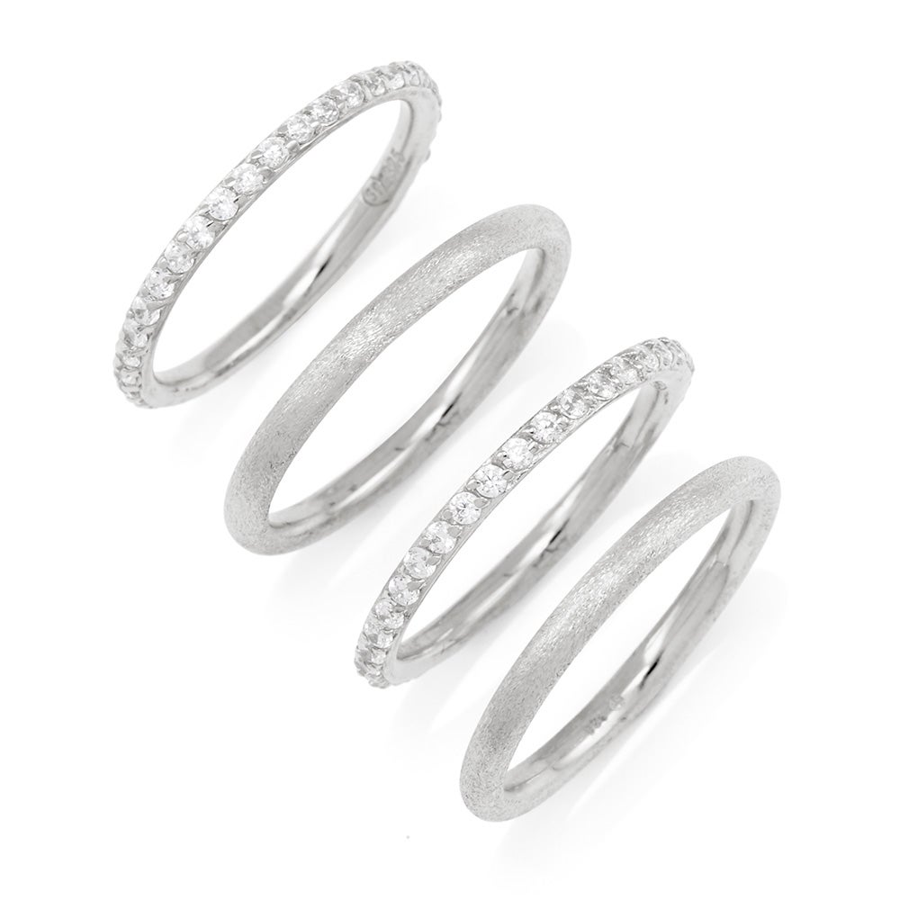 stackable 4 ring set with sterling silver and cz bands