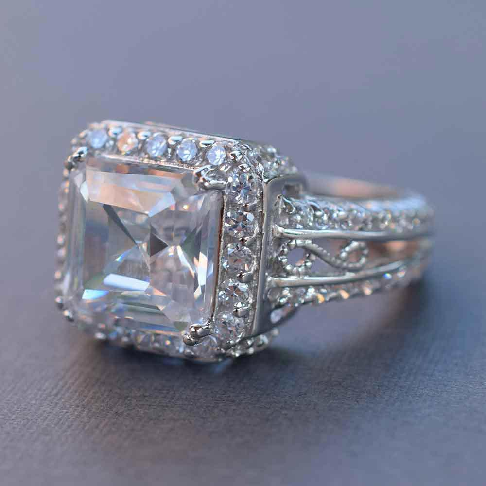 4 carat asscher cut cz cocktail ring in sterling silver