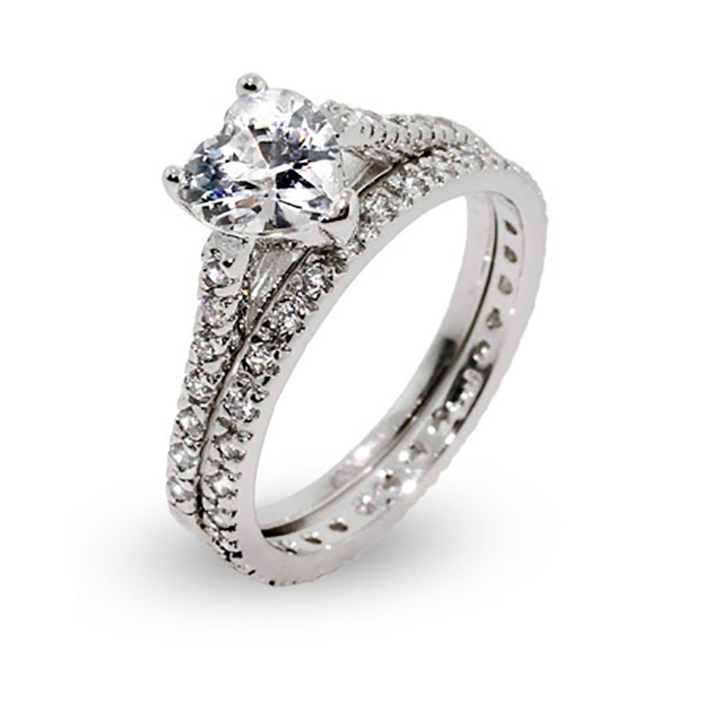 shaped cz engagement ring set in sterling silver | eve's addiction®