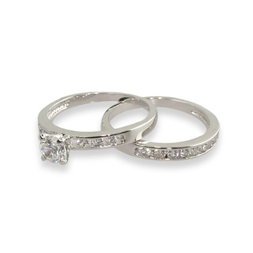 Simple Channel Set CZ Wedding Ring Set Eves Addiction