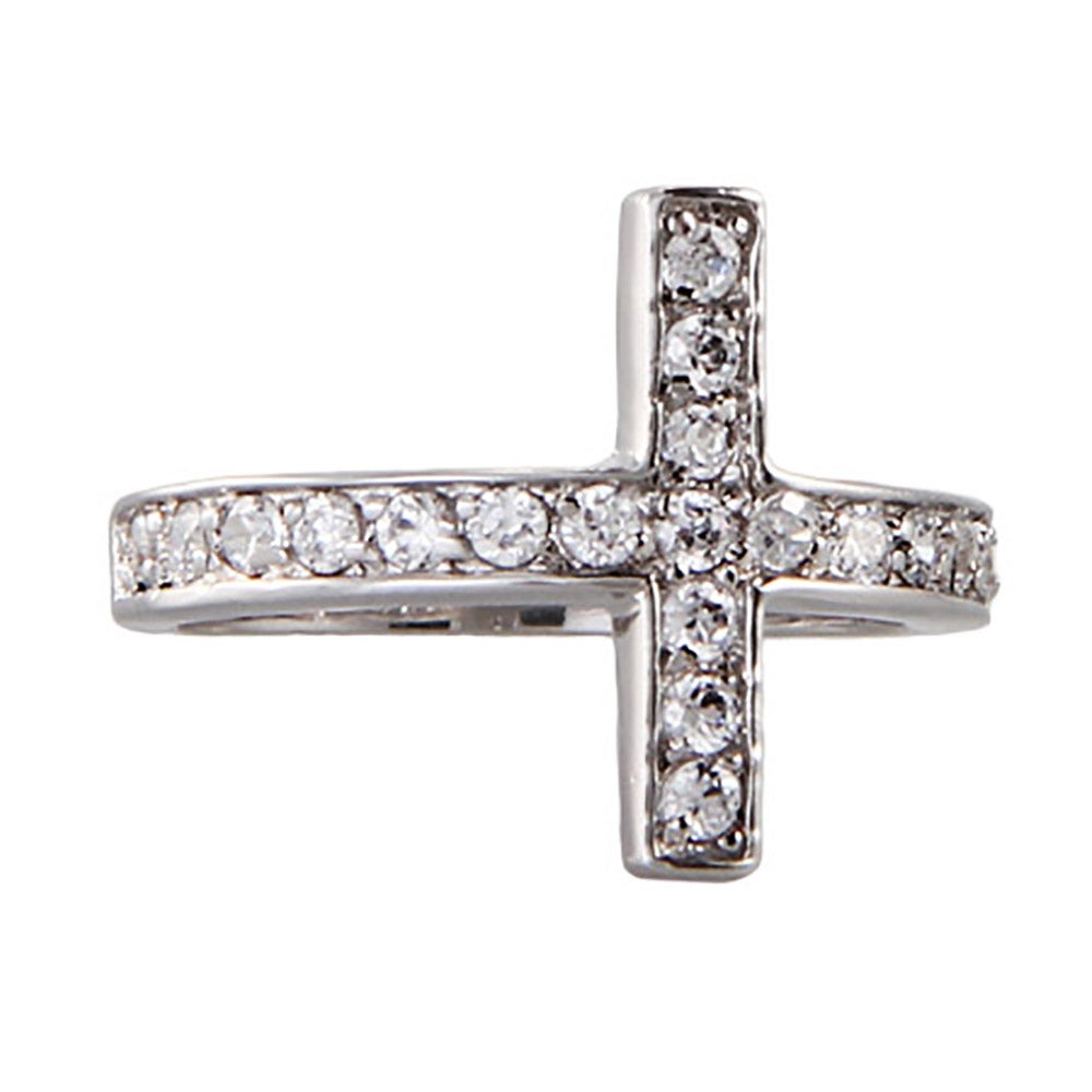 sterling silver cz sideways cross ring s addiction