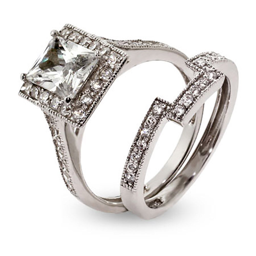 sophisticated emerald cut cz engagement ring set s