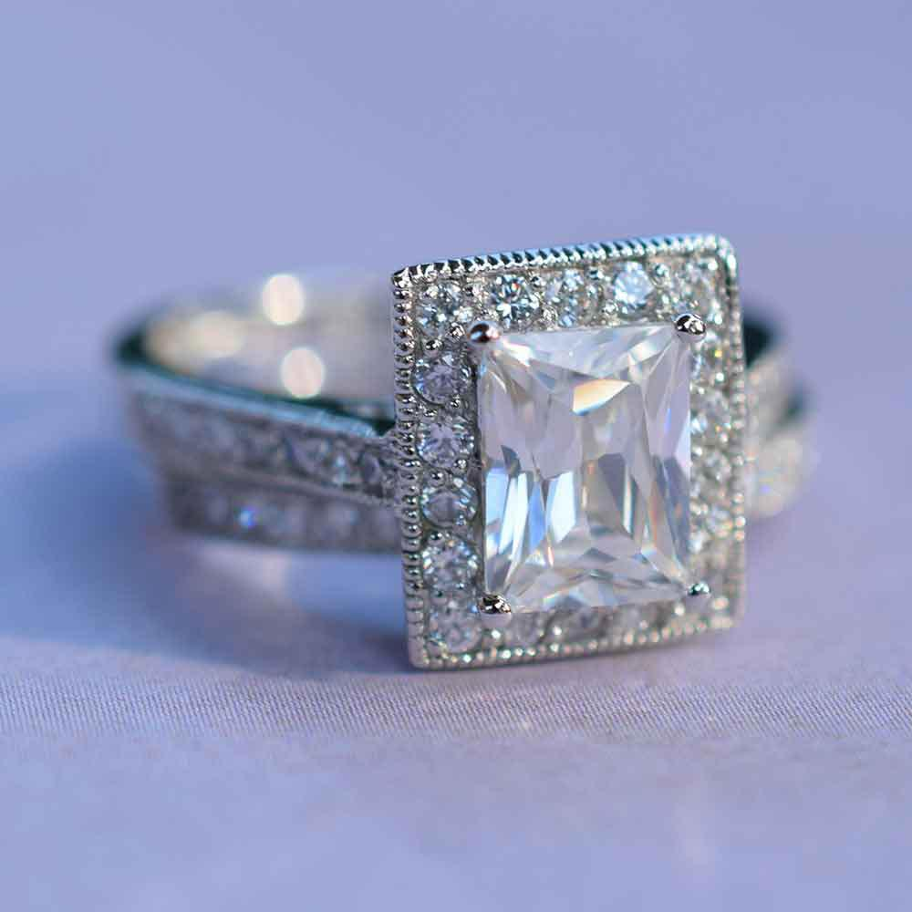 Sophisticated Emerald Cut CZ Engagement Ring Set