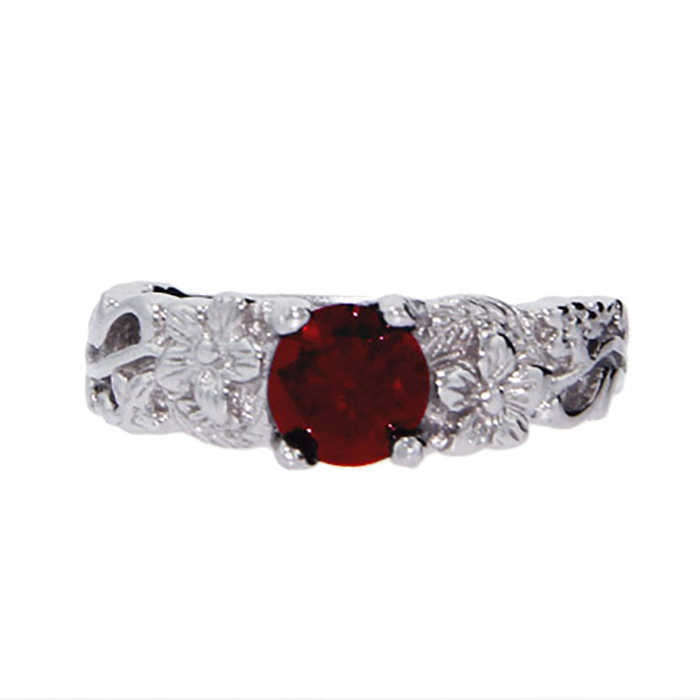 vintage inspired garnet ring with cubic zirconia s