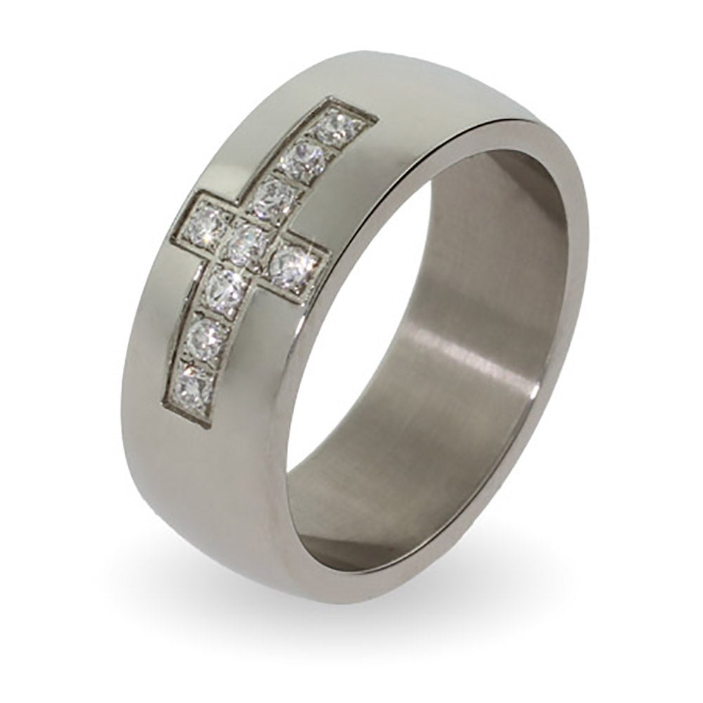 engravable stainless steel cz cross ring | eve's addiction®