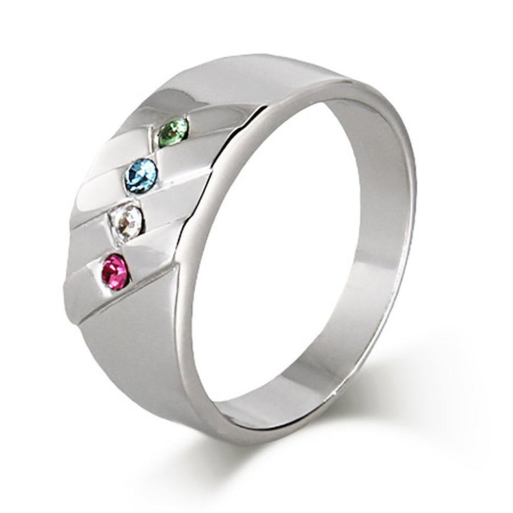 4 Stone Men's Family Birthstone Sterling Silver Ring