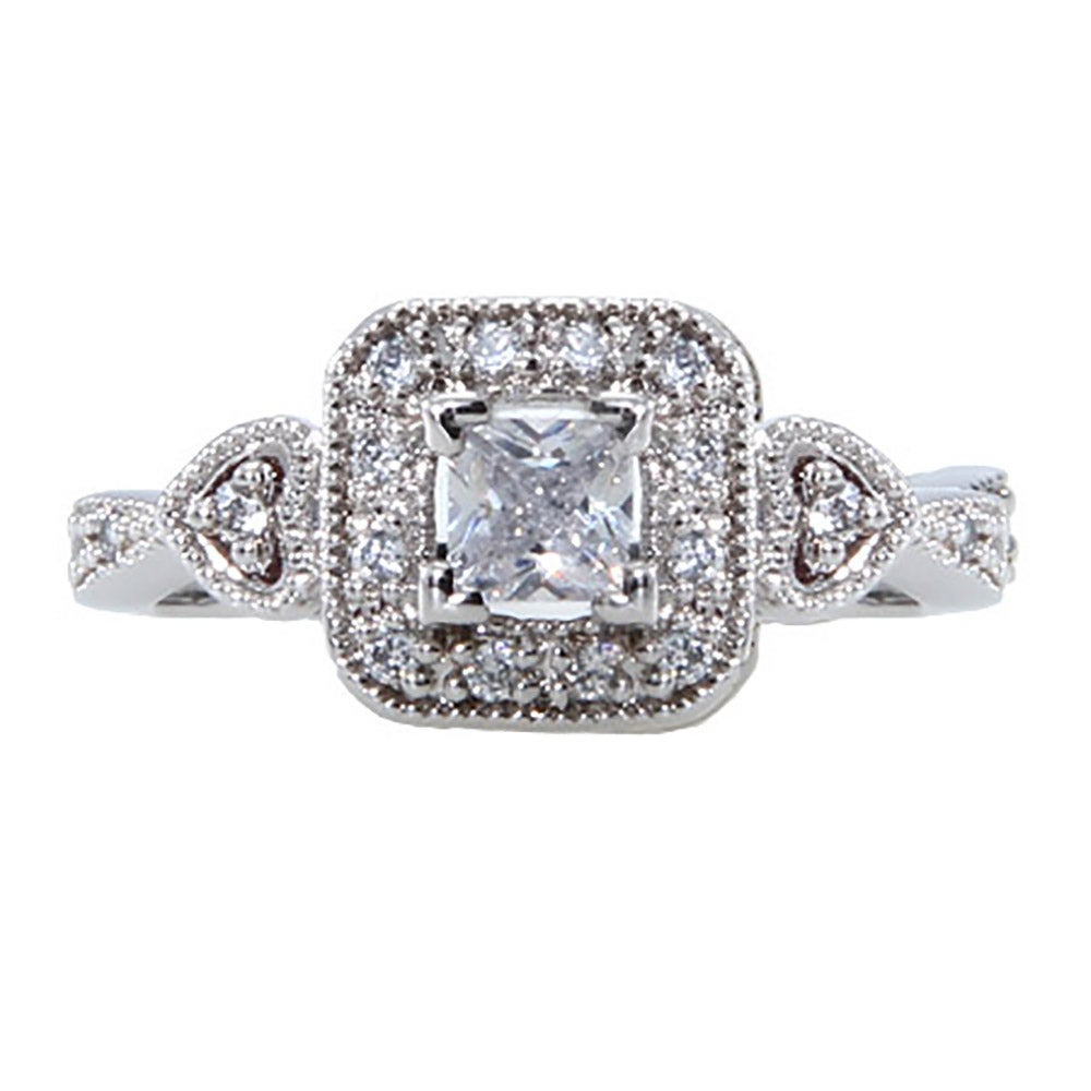 deco style princess cut cz promise ring s addiction 174