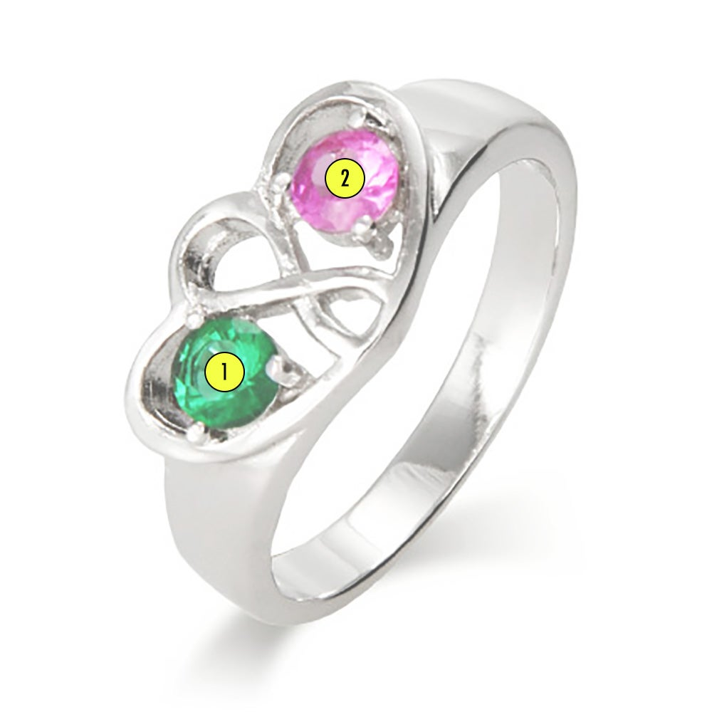 Two Birthstone Infinity Sterling Silver Ring | Eve's Addiction