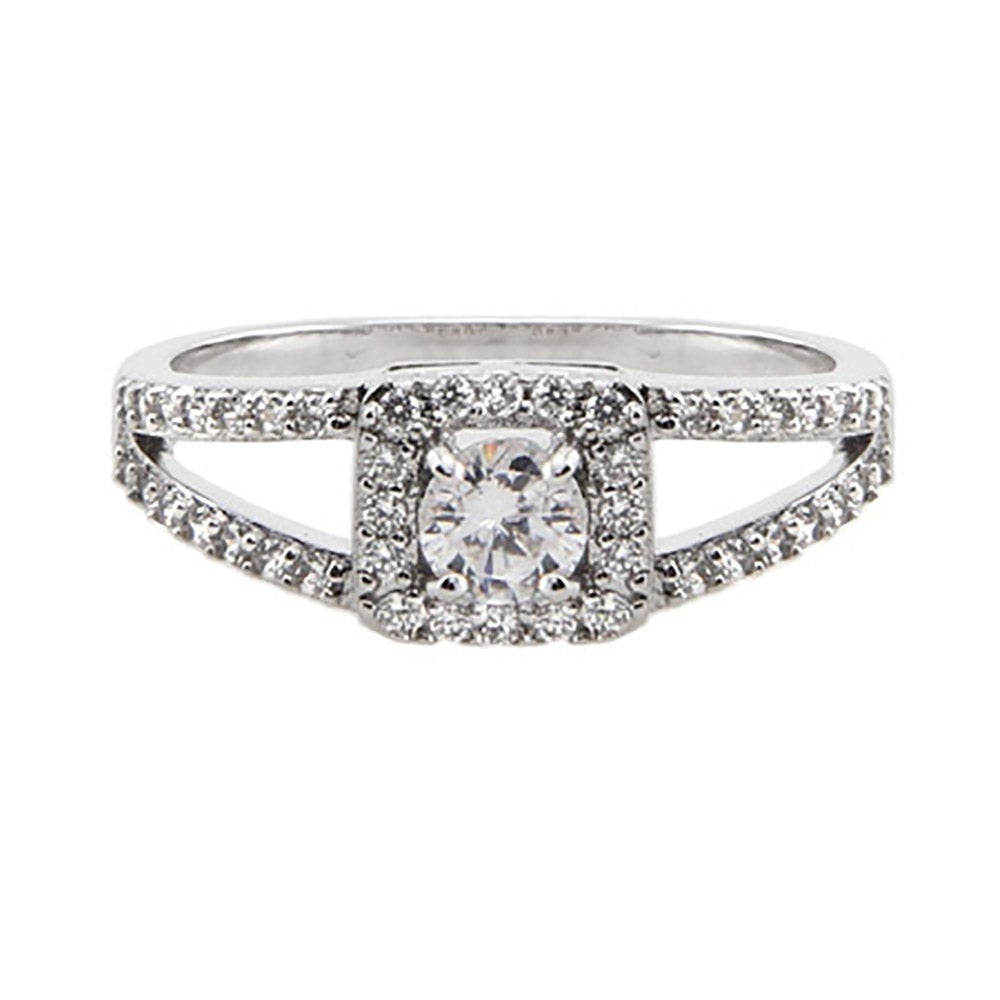 vintage style cut cz promise ring with split band