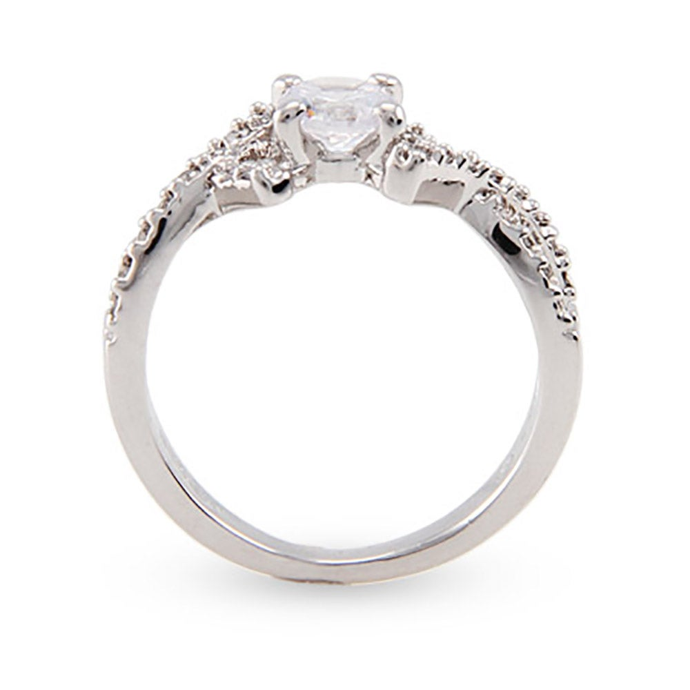 brilliant cut cz promise ring with cross design